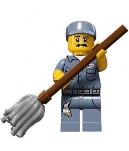 Figurka LEGO Uklízeč zepředu